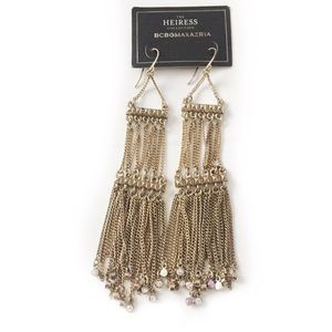 BCBG EARRINGS GOLD TONED FRINGE CHAIN CHANDELIER